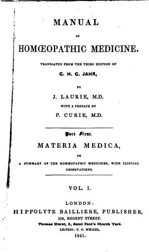 Manual of Homoeopathic Medicine by Gottlieb Heinrich Georg Jahr