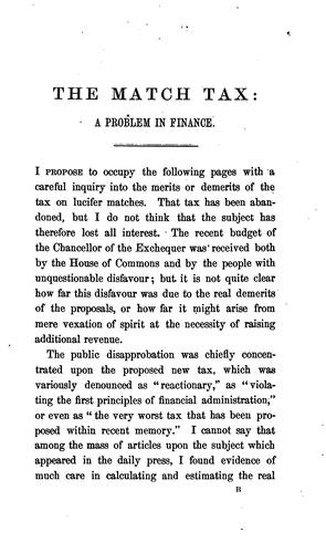 The Match Tax: A Problem of Finance by William Stanley Jevons