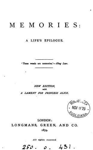Memories: a life's epilogue [in verse, by H.S.Stokes] by Henry Sewell Stokes
