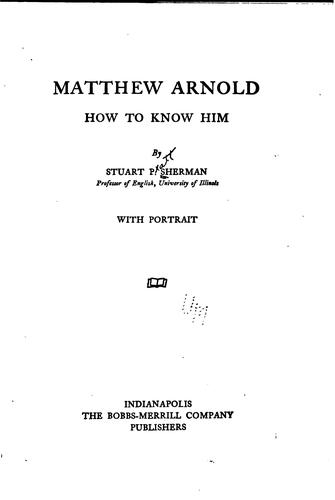 Matthew Arnold: How to Know Him