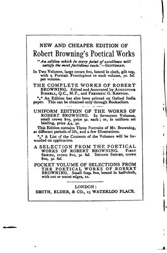 Pocket Volume of Selections from the Poetical Works of Robert Browning by Robert Browning