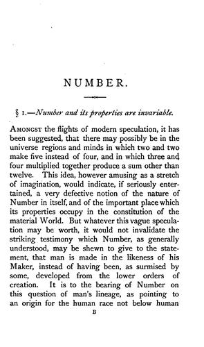 Number: A Link Between Divine Intelligence and Human. An Argument by Charles Girdlestone