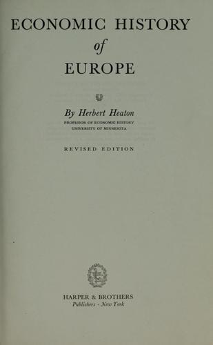 Economic history of Europe.