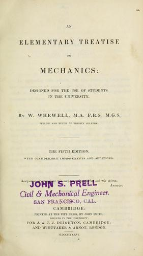 An elementary treatise on mechanics by William Whewell