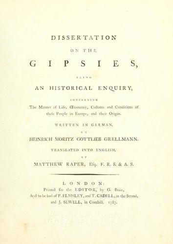 Dissertation on the Gipsies