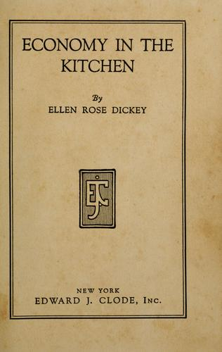 Economy in the kitchen by Ellen Rose Dickey