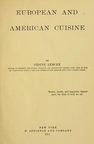 European and American cuisine