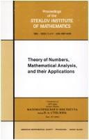 Theory of numbers, mathematical analysis, and their applications by N. N. Bogoli︠u︡bov